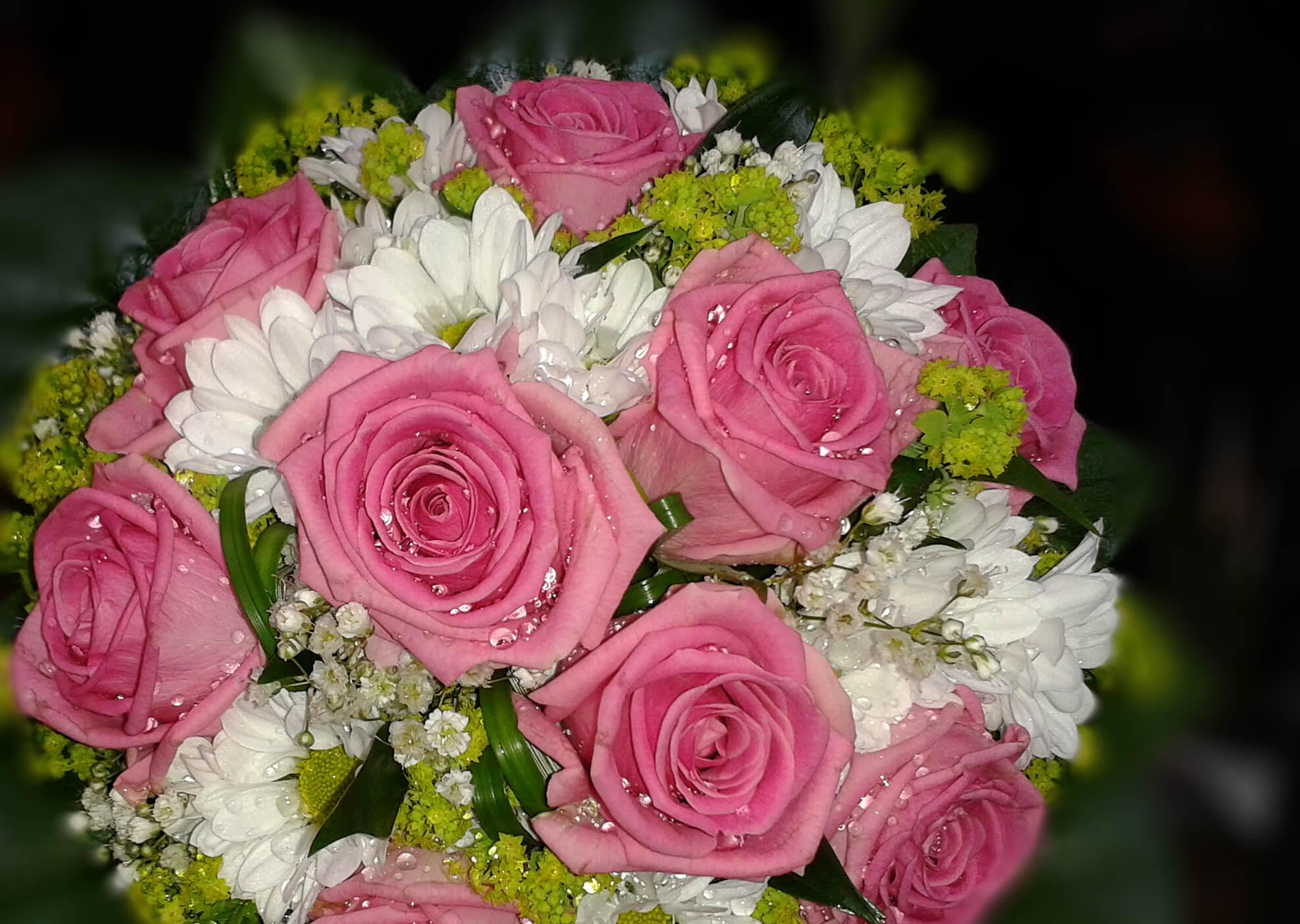 Brautstrauß pink und weiß